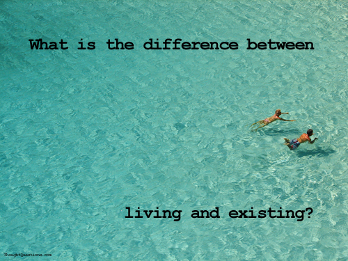 What is the difference between living and existing