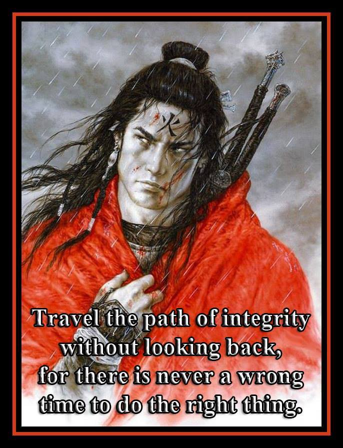 Travel the path of integrity without looking back for there is never a wrong time to do the right thing